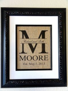 Personalized Burlap Art-  Monogram with Last Name, Couples First Names and Est. Date- Perfect Wedding, Anniverary or Shower Gift