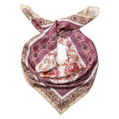 Adelina-Silk Scarf by Marina D'Este-Plum (€71) ❤ liked on Polyvore featuring accessories, scarves, silk scarves, floral print scarves, floral scarves, pure silk scarves and paisley scarves