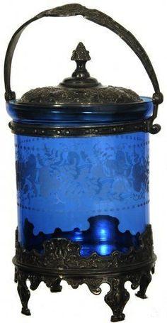 vintage blue glass biscuit jar