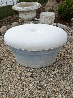 zinc tub turned ottoman, painted furniture, repurposing upcycling, materials one zinc tub vintage European linen vintage ticking for welt and one great upholsterer who understands the inside of my brain