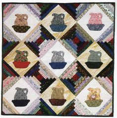 Sew a Small Log Cabin Quilt with Easy Applique Alternate Blocks: Pitchers for Tildy's Cabin Quilt Pattern