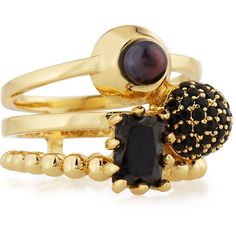 Eddie Borgo Joined Collage Stack Ring ($200) ❤ liked on Polyvore featuring jewelry, rings, black costume jewelry, pearl rings, black pearl ring, stacking rings jewelry and band jewelry