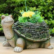 Wise Turtle with Moss Covered Shell Statue