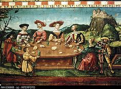 Fine arts, painting, 'party eating', unknown artist, Upper Bavaria, 1538, Bavarian National museum