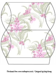 Pretty Pink Flowers Pillow Gift Box on Craftsuprint designed by Katy Kinsey - An easy to make pillow gift box decorated with pretty delicate pink flowers - Now available for download!