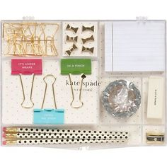 Kate Spade Office Kit.  In love. #adorable. Paper clips, sticky notes, washi tape, gold sharpener, eraser, binder clips and push pins, oh my!! #katespade #love