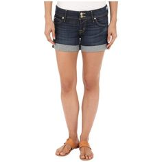 Hudson Croxley Shorts in Stella (Stella) Women's Shorts ($90) ❤ liked on Polyvore featuring shorts, stretchy shorts, low rise short shorts, frayed shorts, union jack shorts and hudson shorts