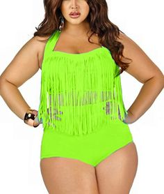a589d3a28b Amazon.com  Pandolah Plus Size High Waist Padded Two-Piece Tassel Swimsuits  for Women (US Size 8-10 (L)