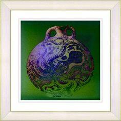 "Studio Works Modern ""Octopus Urn"" by Zhee Singer Framed Graphic Art Size: 14"" H x 14"" W x 1"" D, Color: Blue, Frame Color: White"