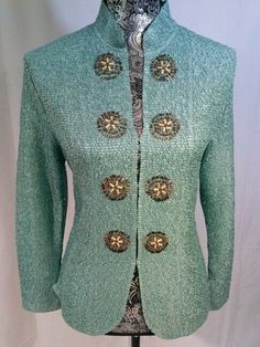 GORGEOUS DUSTY PASTEL AQUA TEXTURED BEADED BOHO CHIC JACKET S / M MANDARIN NECK #PLEATSCOLLECTION #BasicJacket