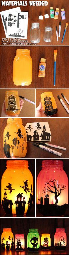 Portavelas DIY para Halloween - wholesalepartysupplies.com - DIY Mason Jar Luminaries