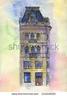 Old house number 22. Original watercolor painting on paper of old street of Lviv.