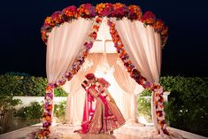 From pastel, floral inspirations to floating mandaps on water bodies, petal-filled setups to bright red, conventional marriage vedis, here are 10 mandap decoration ideas that are on fire. Wedding Ceremony Ideas, Desi Wedding Decor, Wedding Hall Decorations, Marriage Decoration, Wedding Mandap, Wedding Poses, Wedding Venues, Ceremony Programs, Party Wedding