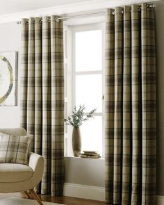 Riva Aviemore Natural & Grey Scottish Tartan Check Eyelet Lined Curtains 7 Sizes