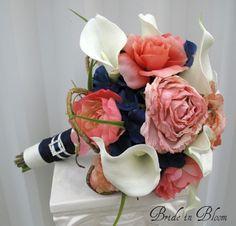 Wedding bouquet coral navy white