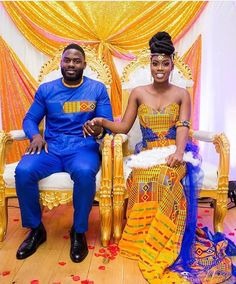 How beautiful are the colours in an African wedding? African Wedding Attire, African Attire, African Wear, African Dress, Ghana Wedding Dress, African Weddings, Nigerian Weddings, African Inspired Fashion, Africa Fashion
