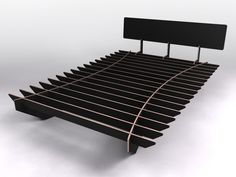 Flat pack Bed - This is a simple bed base. It is CNC routed from plywood. It assembles and dissembles in minutes without joint degradation or mechanical fasteners (headboard excluded). This low impact design is intended to make the moving experience more enjoyable - possibly even fun. Its great for people who move house often. You wont stub your toes on the legs or bang your shins on the edges either...
