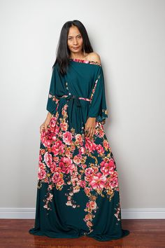 Floral Maxi Dress Long Wide Sleeve Boho Dress : Funky by Nuichan