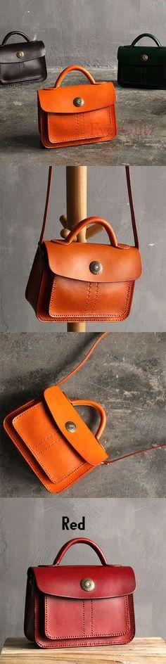 Handmade leather vintage women satchel bag shoulder bag crossbody bag