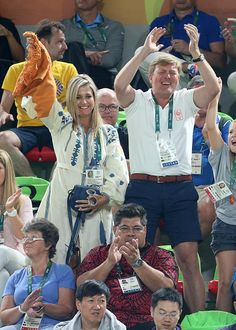 Queen Maxima of the Netherlands and King Willem-Alexander of the Netherlands celebrate the gold medal of Sanne Wevers of the Netherlands at the Women's Balance Beam Final on day 10 of the Rio 2016 Olympic Games on August 15, 2016 in Rio de Janeiro, Brazil.