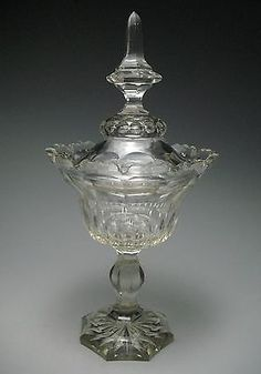 Antique c. 1820-40 Anglo Irish Cut Crystal Lidded Compote Sweat Meat