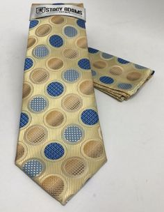 Stacy Adams Tie & Hanky Set Beige Khaki Powder Blue Royal Blue Men's Polka Dots #StacyAdams #Set