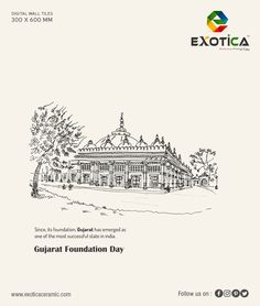 Since, its foundation, Gujarat has emerged as one of the most successful state in india. Hd Design, Graphic Design, Digital Wall, Wall Tiles, Festivals, Divas, Foundation, Interior Decorating, Banner