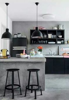 Cement instead of tiles for the kitchen