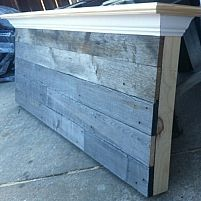 Hometalk    Queen size barn wood headboard made with naturally aged wood.  Finishing touches with side trim and crown molding