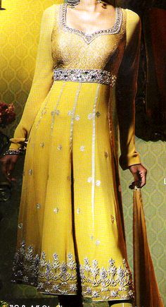 Bright Yellow Anarkali <3 #ShaadiBazaar would love this in hot pink, purple, turquoise, black, or white
