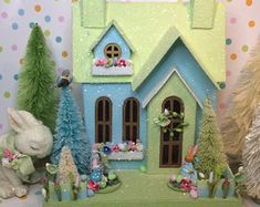 Easter Bakery Putz Houses are in Process ! by glitteratmidnight Biscuit, Christmas Home, Christmas Ornaments, Christmas Villages, Christmas Gifts, Paper Houses, Cardboard Houses, Putz Houses, Tiny Houses
