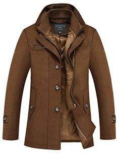 Match Men's Wool Half Trench Coat(Coffee,US X-Small (Tag Medium))