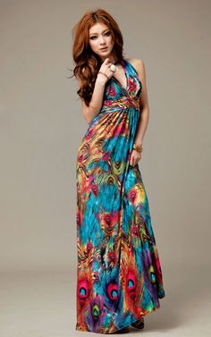 e739a8e7a35b Alluring V-Neckline Peacock Print Sleeveless Maxi Dress For Women (AS THE  PICTURE