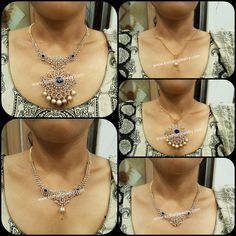 Traditional Diamond Necklace with Detachable Pendant Blue Sapphire Necklace, Diamond Necklace Set, Diamond Pendant, Diamond Jewellery, Diamond Mangalsutra, Diamond Bangle, Circle Necklace, Pearl Necklace, Beaded Necklace