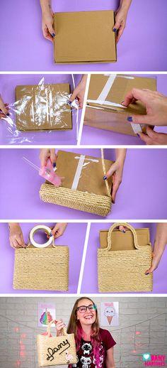 Jute Crafts, Recycled Crafts, Decor Crafts, Diy Handbag, Diy Purse, Atelier Creation, Decoration Evenementielle, Round Bag, Diy Pillows