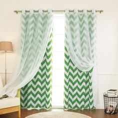 Best Home Fashion Voile Room Darkening Mix & Match Curtain Panels - Set of 4 Green - MM_SIL_VOILE_CHEV-96-GREEN