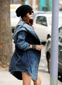 Oversized Denim Hooded Drawstring Tunic Jacket Hoodie