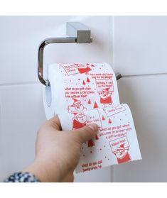 Hartie igienica imprimata cu glume cu tematica de Craciun. Un cadou haios pentru colegi sau prieteni, poate fi un cadou de Secret Santa. Pret: 34 Lei #craciun #cadouri #funny #decoratiuni Lei, Toilet Paper, Toilet Paper Roll