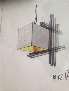 Скетч бетонного светильника