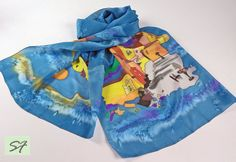 Blue Yellow Hand Painted Silk Scarf Italy Architectural scarf, Wife Mom Her Gift, Batik, Unique Womens Gift,  Women Fashion Scarf by SilkFantazi on Etsy