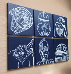 modern star wars art . set of 6. 12x12 canvases . by sincerelyYOU