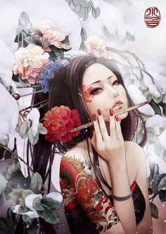 """Remember, geisha are not courtesans. We create another secret world, a place only of beauty. The very word ""geisha"" means artist. Art And Illustration, Tattoo Illustrations, Art Geisha, Geisha Japan, Geisha Tattoos, Art Chinois, Art Asiatique, Art Japonais, Samurai Art"