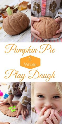 Perfect for a fun fall craft for kids, a distraction until trick-or-treating time, or to keep the kids busy on Thanksgiving Day...this 5-minute pumpkin pie play dough smells like fall all year round!