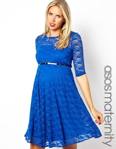 Asos Maternity Lace Skater Dress With Belt And 1/2 Sleeve on shopstyle.com