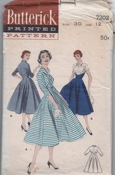 VERY RARE 1950s vintage pattern Butterick 7202 size 12 bust 30 waist 25 hips 33 misses fitted casual V shaped bodice & gored skirt. $24.99, via Etsy.