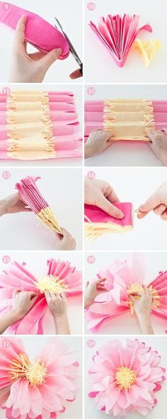 Large tissue paper flowers!  Use 6 full sheets of tissue paper(Dollar Tree!) & 3 small sheets for the center. Fold fan style, staple in the center, fluff and shape them!  I made them for centerpieces at a Women's  Club luncheon - cheap and easy! -A-