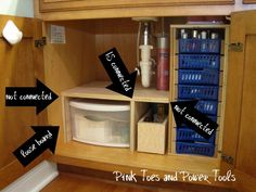 Custom DIY under cabinet bathroom storage - I really need to re-organize under m. Custom DIY under cabinet bathroom storage - I really need to re-organize under my bathroom sink. This is perfect! Small Bathroom Organization, Organization Hacks, Organizing Ideas, Organizing Drawers, Organized Bathroom, Bathroom Vanity Organization, Kitchen Organisation, Organized Kitchen, Organization Station