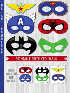 SUPERHERO PRINTABLE MASKS {All digital files - Ready to print at home or printing shop - INSTANT DOWNLOAD}  Celebrate in style and with ease, with