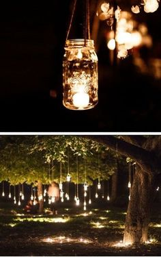What a beautiful (and cheap) way to decorate outside for a wedding or party! Mason jar, some small candles, some type of rope to hang them - and you're done! You can also put a strand of battery-powered LED lights - that's pretty too!