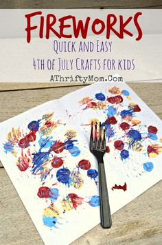 Fireworks Art made with a Fork and craft paint, quick and easy craft ideas for kids, 4th of July art projects #JULY4th, #fireworks, #KidCraf...